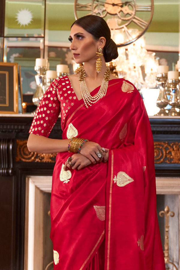 Hot Red Woven Banarasi Saree