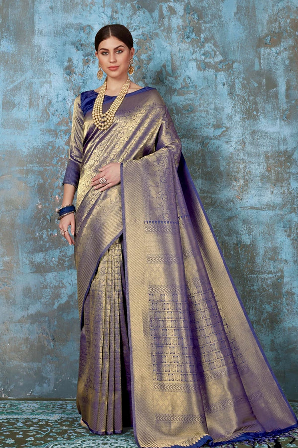 Chambray Blue Golden Woven Kanjivaram Saree