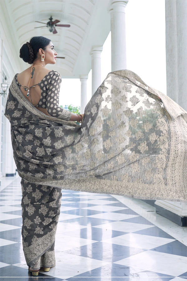 Mantle Grey Chikankari Woven Saree