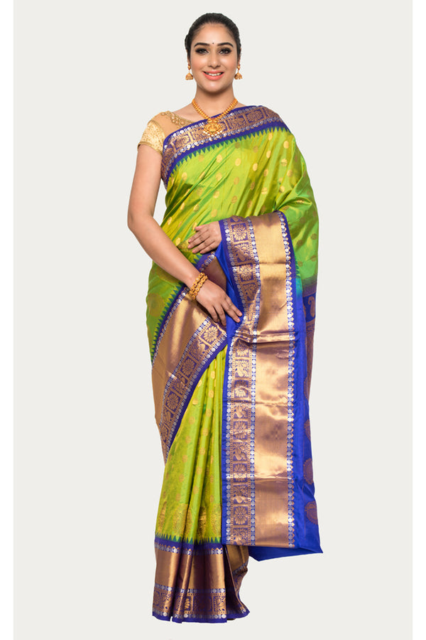 Earls Green Handloom Kanjivaram Silk Saree