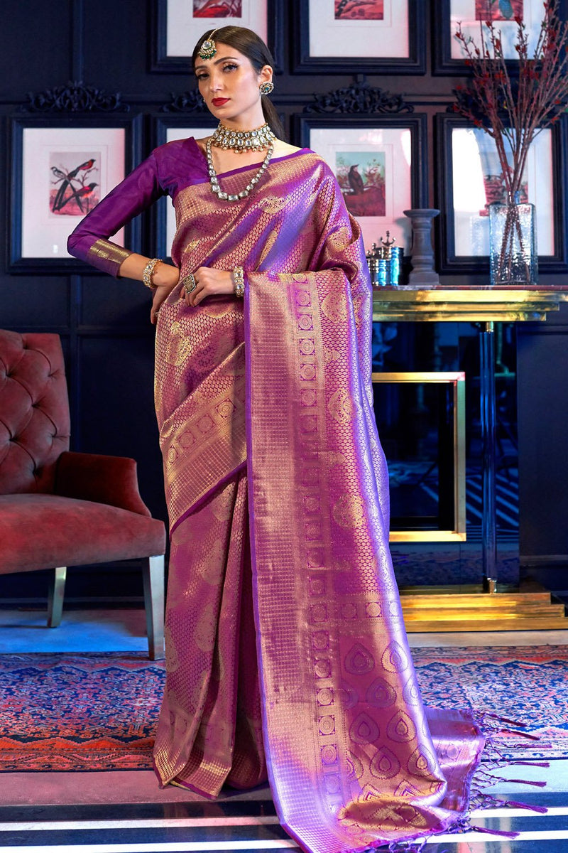 Wine Berry Purple Woven Kanjivaram Saree