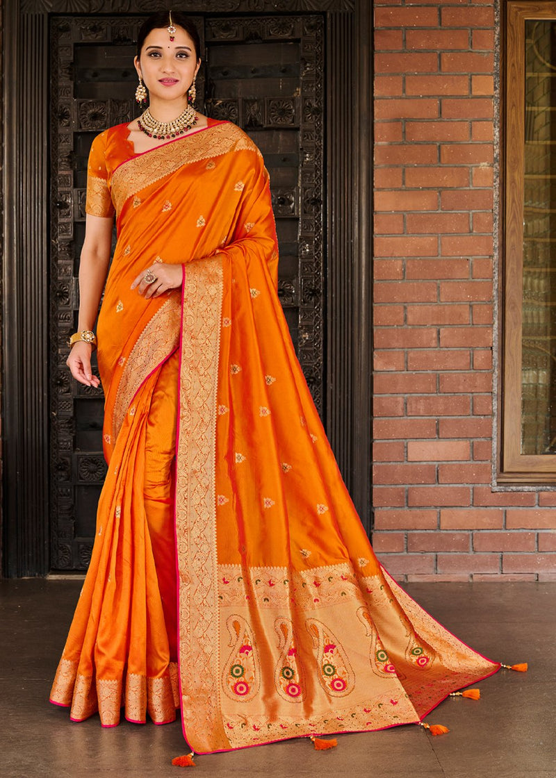 Bamboo Orange Zari Woven Banarasi Saree
