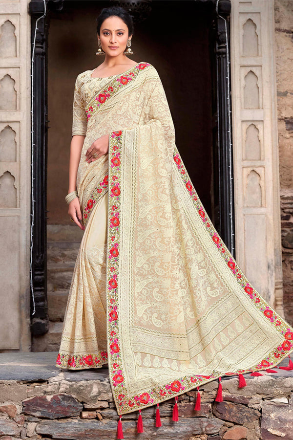 Egg Shell White Georgette All Over Lucknowi Chikankari Worked Saree