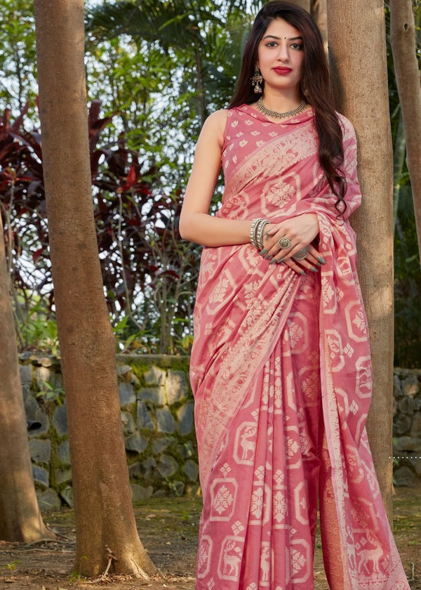 New York Pink Thread Woven Chikankari Saree