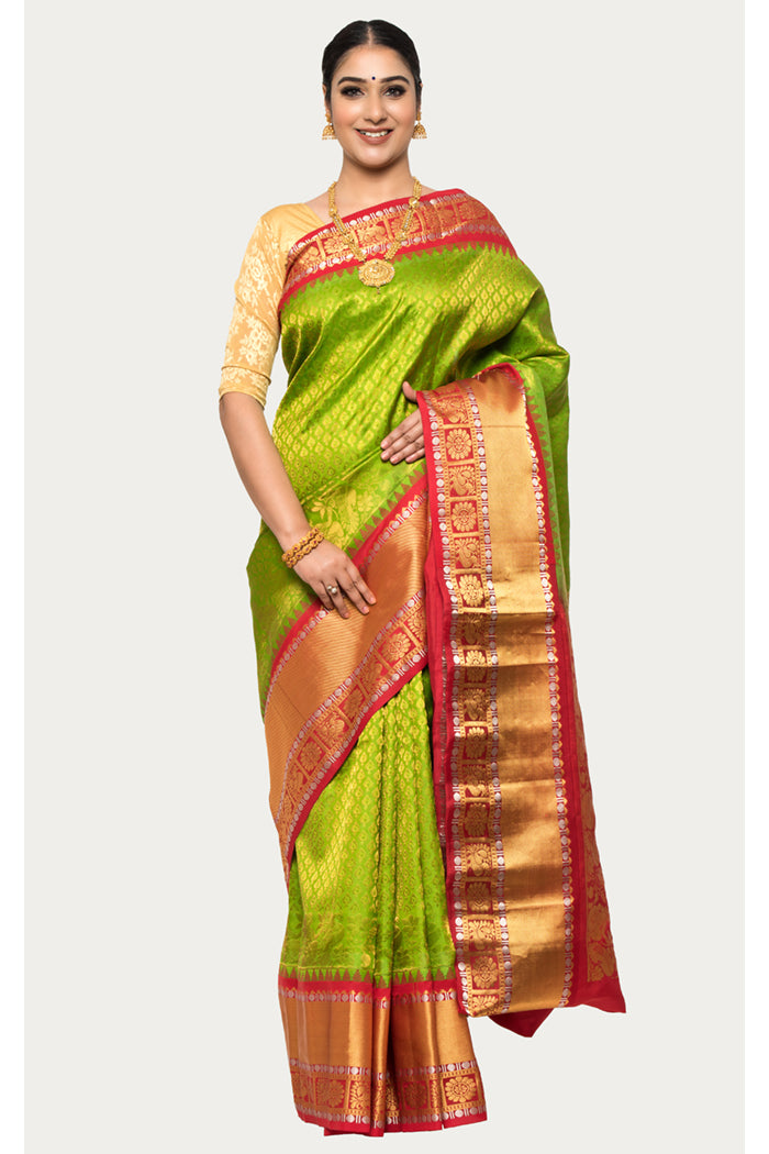 Citron Green Handloom Kanjivaram Silk Saree