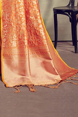 Orange Zari Woven Handcrafted Kanjivaram Saree