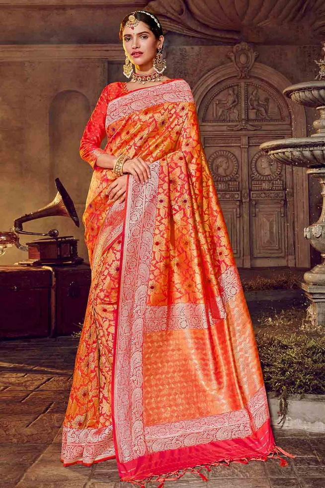 Flamingo Orange Zari Woven Banarasi Saree