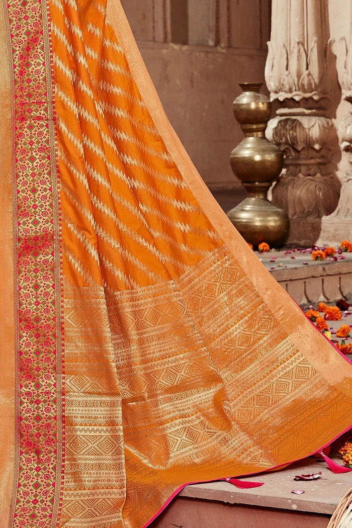 Orange Designer Banarasi Saree
