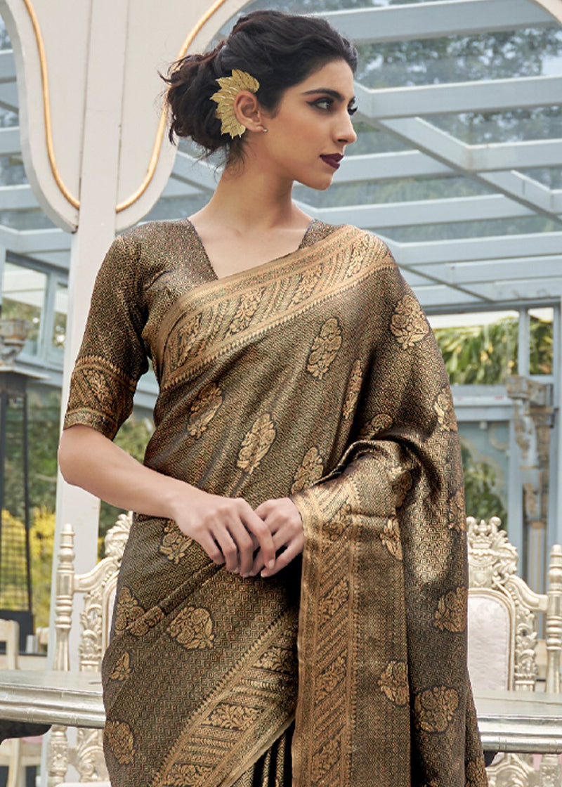 Shingle Fawn Brownish Black Zari woven Kanjivaram Silk Saree