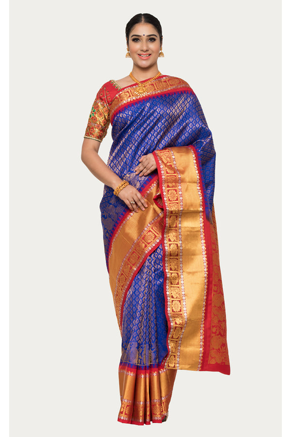 Bay Of Many Blue Handloom Kanjivaram Silk Saree
