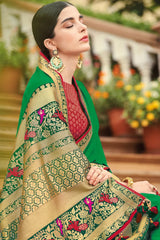 Fun Green Zari Woven South Silk Saree