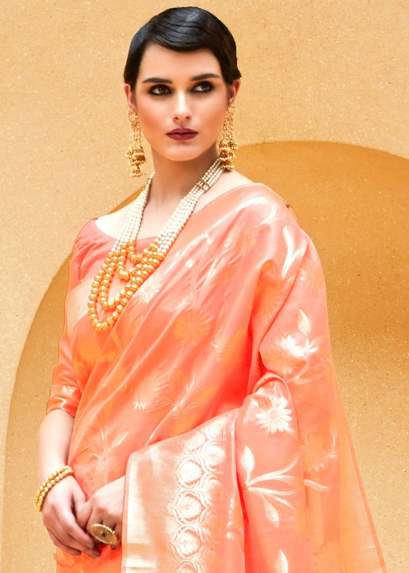 Vivid Tangerine Orange Zari woven Banarasi Saree