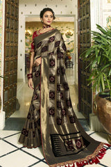 Verdigris Grey and Black Woven Designer Patola Saree