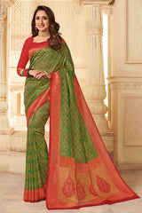 Green Zari Woven Handcrafted Kanjivaram Saree