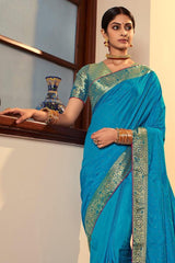 Metallic Seaweed Blue Zari Woven South silk Saree