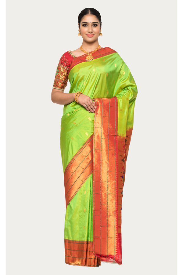 Peridot Green Handloom Paithani Silk Saree