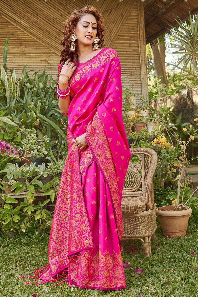 Hot Pink Zari Multi Butta Woven Banarasi Saree