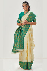 Golden white Zari Woven Kanjivaram Silk Saree