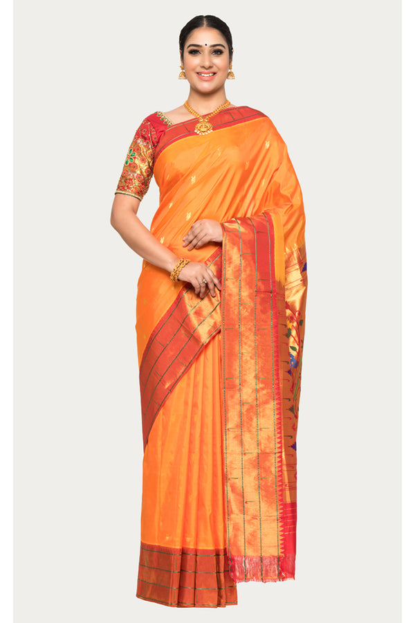 Mango Tango Orange Handloom Paithani Silk saree