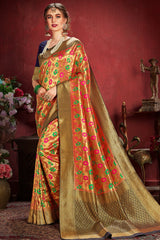 Brownish Golden Zari Woven tissue Kanjivaram silk Saree