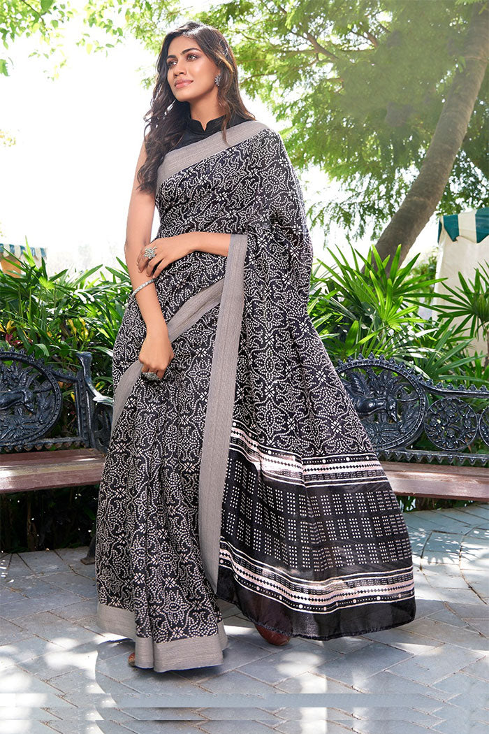 Midnight Black Printed Saree