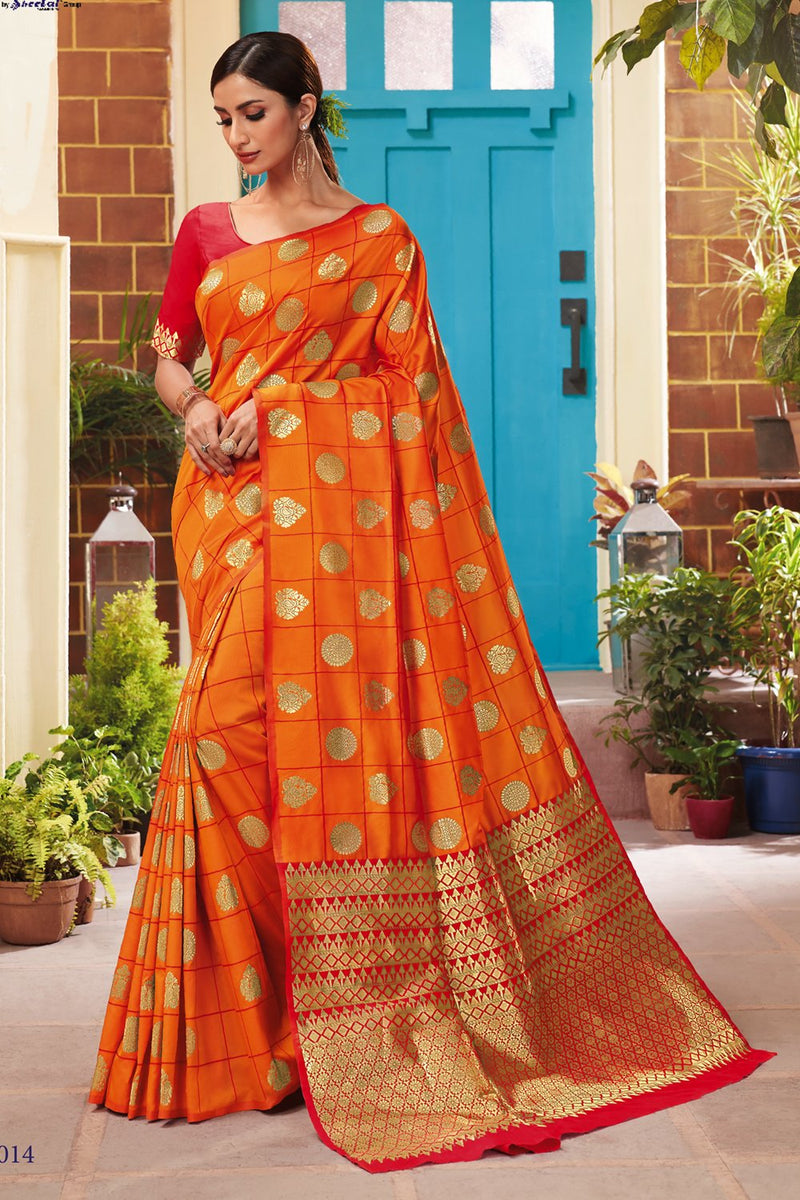 Sun Kissed Orange Handcrafted Contemporary Kanjivaram Saree