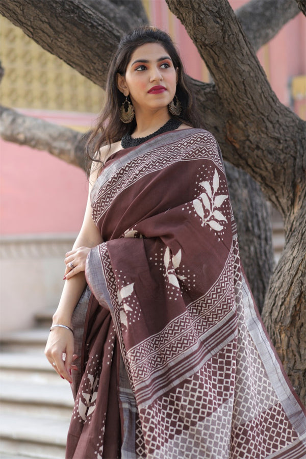 Congo Brown Bagru Handblock Printed Saree