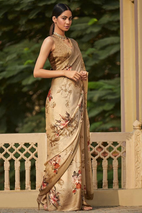 Teak Brown Satin Silk Saree