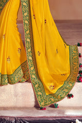 Buttercup Yellow Woven South Silk Saree