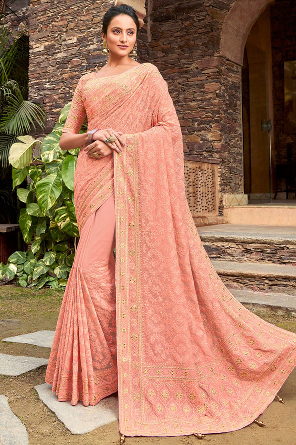 Rose Bud Pink Georgette Lucknowi Chikankari Worked Saree