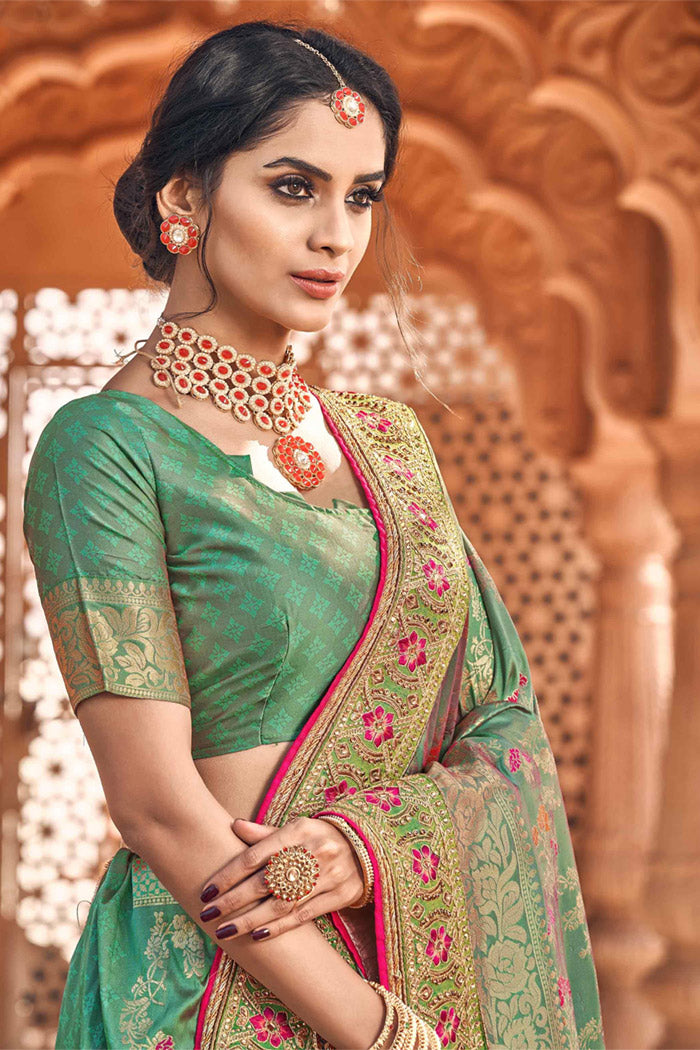 Spring Leaves  Green Woven Banarasi saree