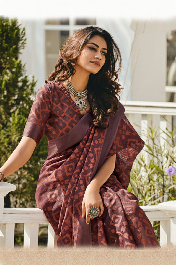 Lotus Maroon Soft Brasso Silk Saree