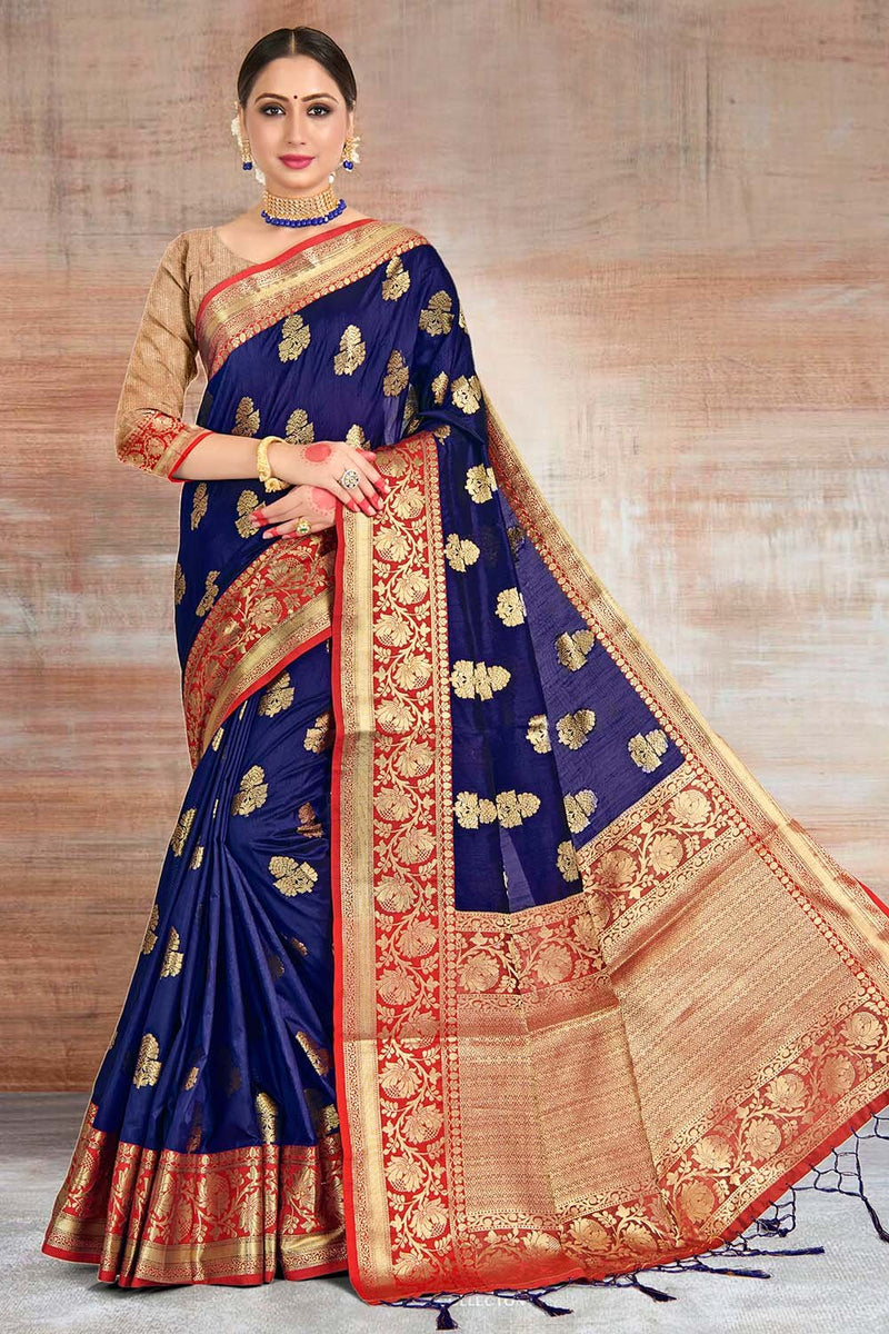 Port Gore Blue Zari woven South silk Saree