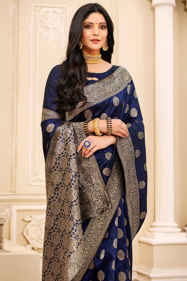 Mirage Blue Woven Banarasi Saree