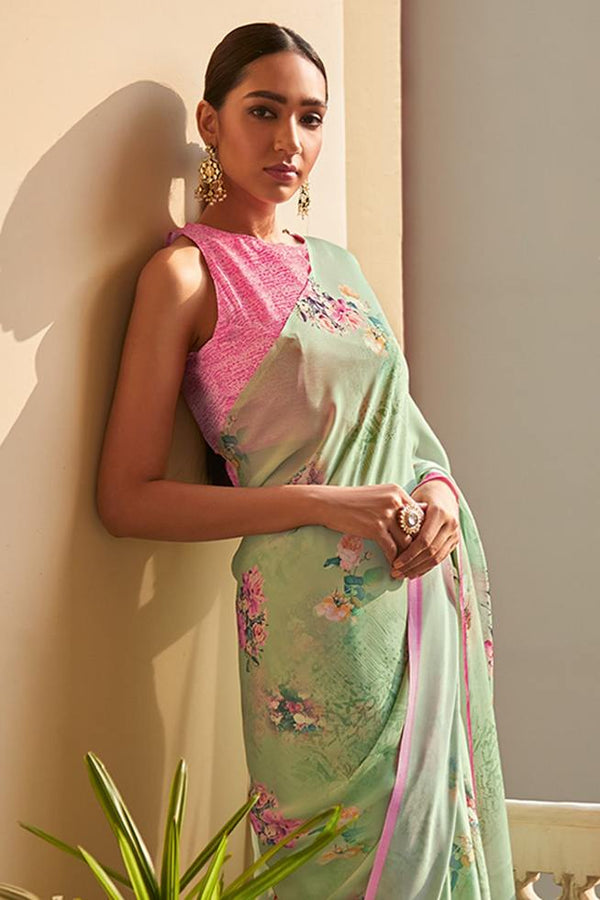 Battleship Green Satin Silk Saree