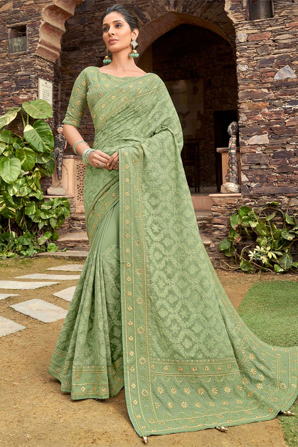 Swamp Green Silk Georgette Lucknowi Chikankari Worked Saree