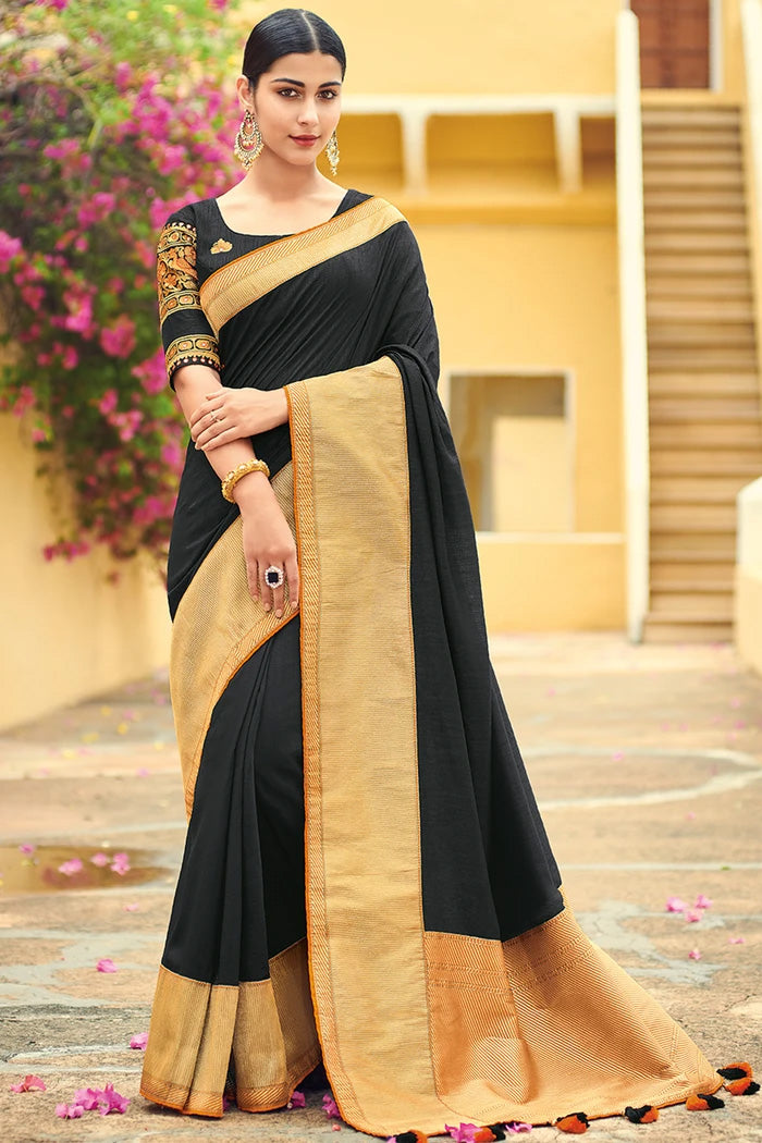 Woodsmoke Black Zari Woven South Silk Saree