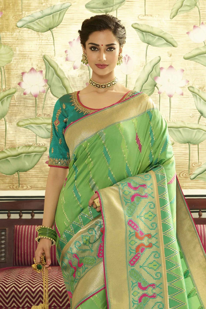 Forest Green Shaded Woven Designer Patola Saree