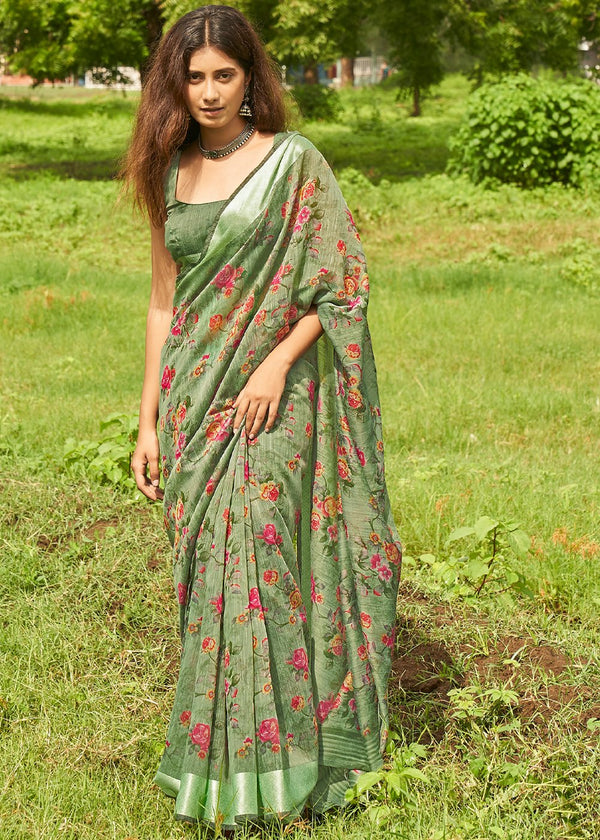Avocado Green Zari Woven Linen Saree