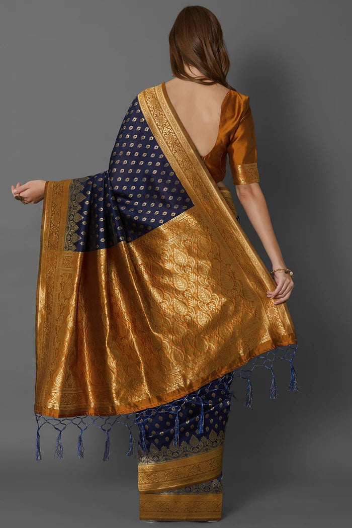 Deep Blue Banarasi Saree