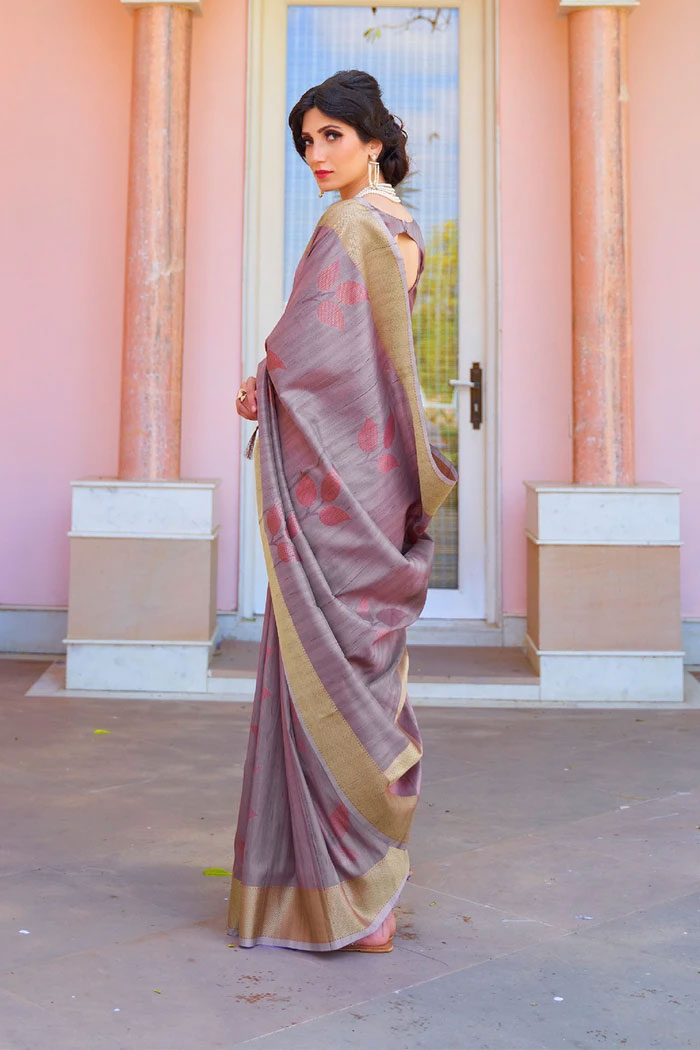 Bouquet Purple Woven Chanderi   Banarasi Saree