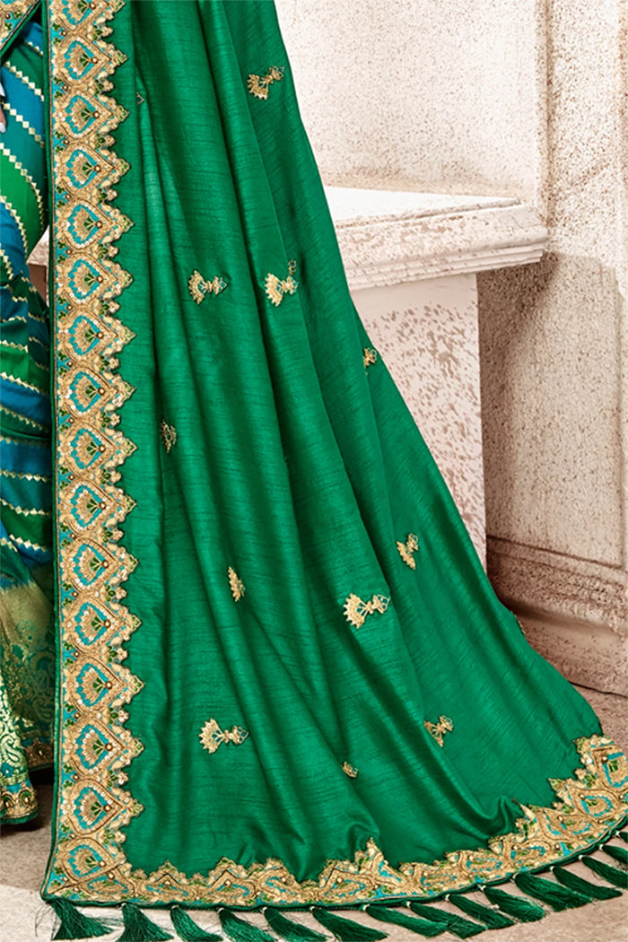 Combination of Blue And Green Woven Banarasi Saree