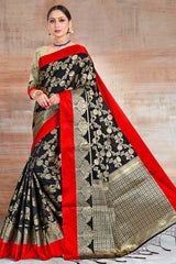 Rangitoto Black Zari woven South Silk Saree