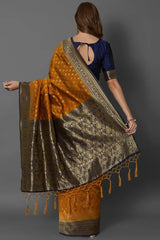 Mustard Yellow Banarasi Saree