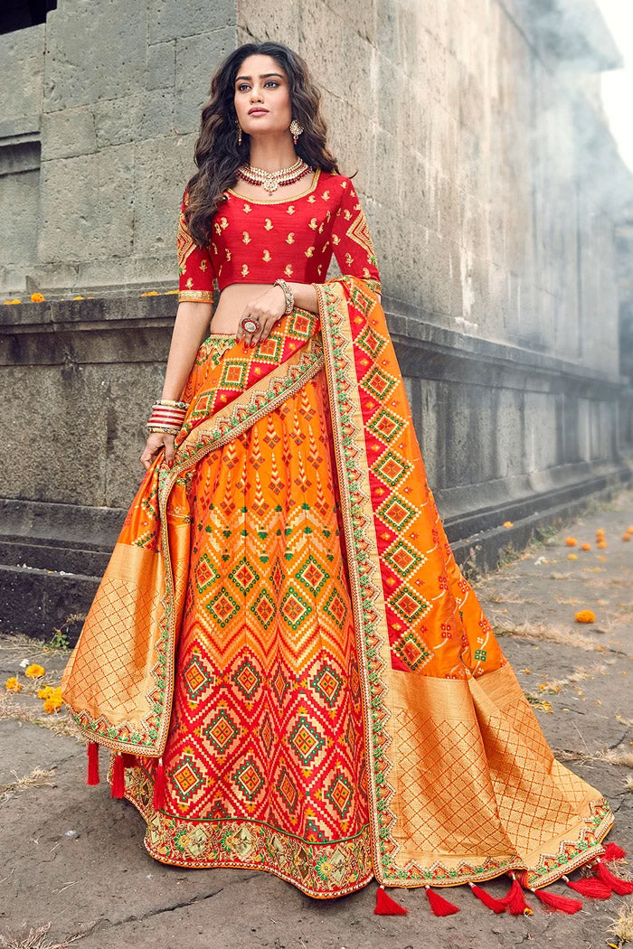 Chilli Red Yellow Designer Lehenga