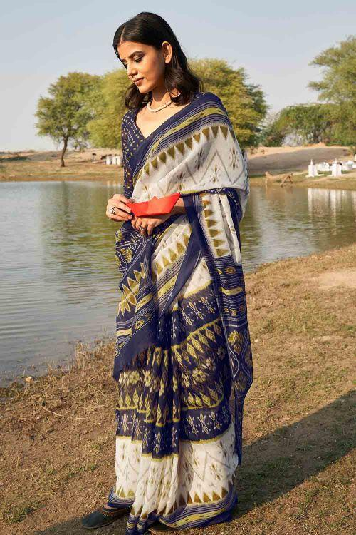 Akaroa White Mulmul Printed Cotton Silk Saree