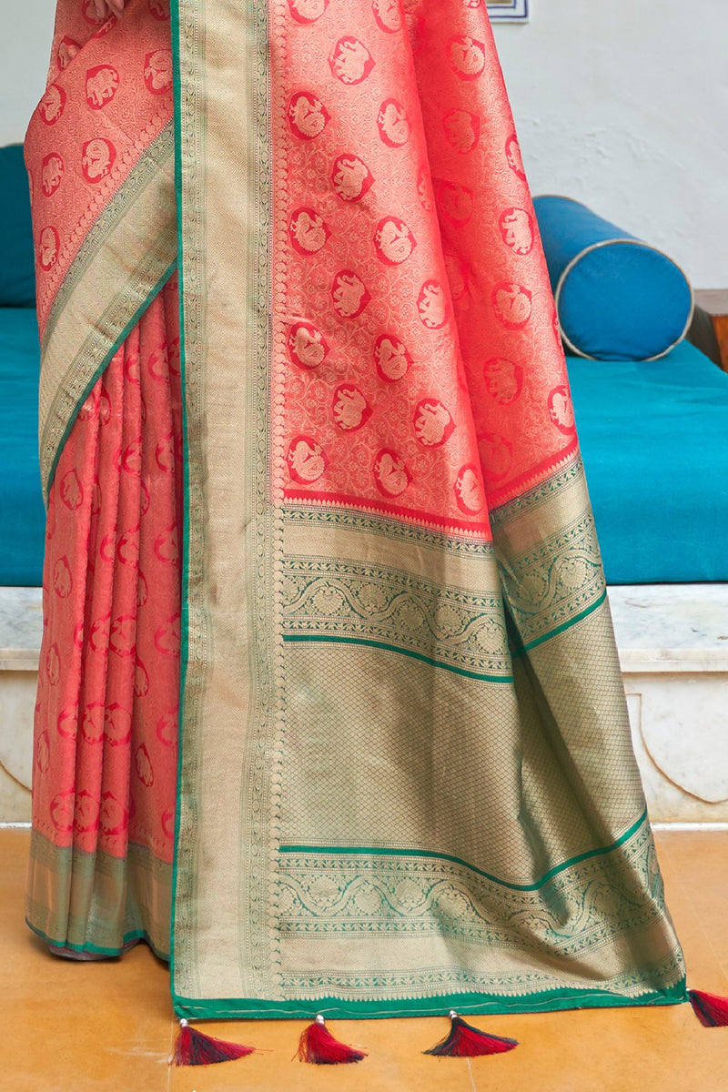Punch Red Zari Woven Kanjivaram Silk saree