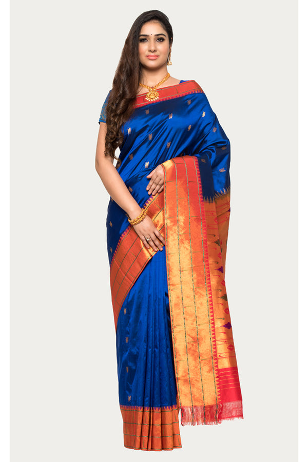 Catalina Blue Handloom Paithani Silk Saree