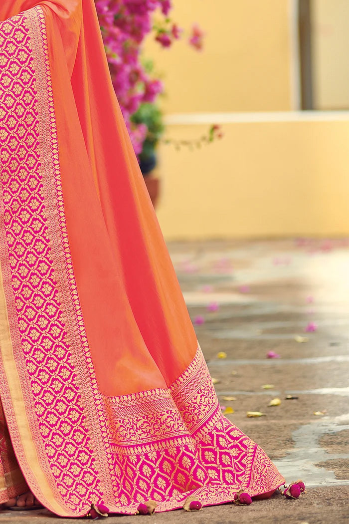 Coral Pink Zari Woven South Silk Saree