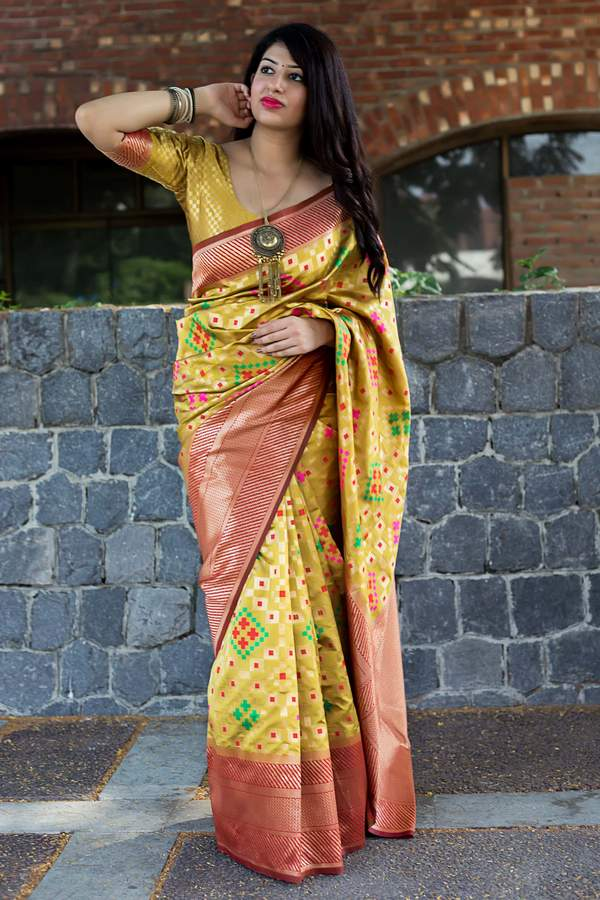 Calico Yellow Woven Banarasi Saree
